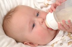 Baby sucking on a bottle Royalty Free Stock Images