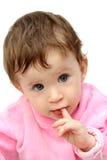 Baby sucking fingers portrait Stock Photo