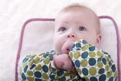 Baby sucking his thumb Royalty Free Stock Images