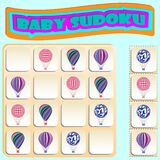 Baby Sudoku with colorful Balloons. Game for preschool kids