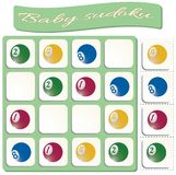 Baby Sudoku with colorful billiard balls stock illustration