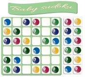 Baby Sudoku with colorful billiard balls vector illustration