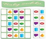 Baby Sudoku with colorful geometric shapes stock illustration