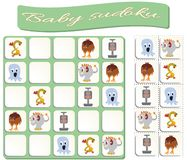 Baby Sudoku with colorful monsters images vector illustration