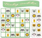 Baby Sudoku mit bunten Tierbildern vektor abbildung