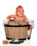 Baby in the Suds Stock Image