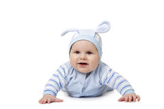 Baby in a suit of hare Stock Photo
