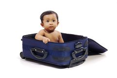 Baby in the Suitcase Stock Images