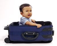 Baby in the Suitcase Stock Image