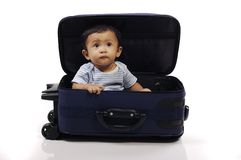 Baby in the Suitcase Stock Photos