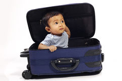 Baby in the Suitcase Royalty Free Stock Image