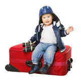 Baby Suitcase, Kid Sitting on Travel Luggage, Child with Red Bag Royalty Free Stock Images