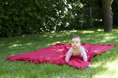 Baby in summer. A crawling baby on a blanket Stock Photos