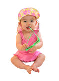 Baby with Summer Hat and Sunglasses Royalty Free Stock Images