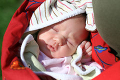 Baby in the sun. Baby sleeping in the sun royalty free stock photo