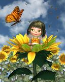 Baby Sunflower Fairy with Summer Background stock illustration