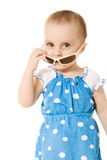 Baby in sunglasses, isolated Royalty Free Stock Photo