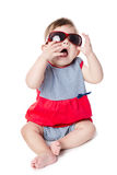 Baby with sunglasses isolated on white background Stock Images
