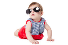 Baby with sunglasses isolated on white background Royalty Free Stock Photos