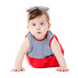 Baby with sunglasses isolated on white background Stock Photos