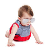 Baby with sunglasses isolated on white background Royalty Free Stock Image