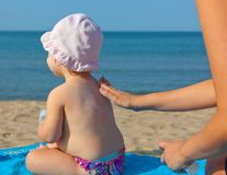 Baby sunscreen cream. royalty free stock image