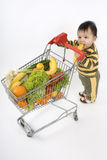 Baby in the supermarket Stock Photo