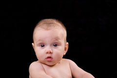 Baby Surprise. Caucasian 3-6 month old healthy baby looking straight into camera with mouth slightly open and big eyes: conveys a message of surprise Stock Photo