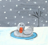 Baby swan in the winter. Acrylic illustration of baby swan in the winter Stock Image