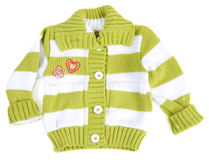 Baby sweater striped with green strip Royalty Free Stock Photo