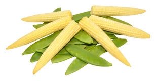 Baby Sweet Corn And Mangetout Peas Royalty Free Stock Image