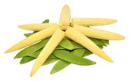 Baby Sweet Corn And Mangetout Peas Stock Photo