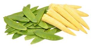 Baby Sweet Corn And Mangetout Peas Royalty Free Stock Image