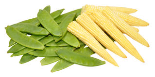 Baby Sweet Corn And Mangetout Peas Stock Photos
