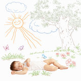 Baby Sweet Sleeping On A Painted Nature. Newborn. Infant Stock Photo