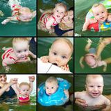 Baby swimming royalty free stock photo