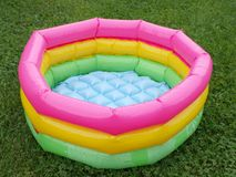 Baby swimming pool. Plastic colorful baby swimming pool, close up Stock Photography
