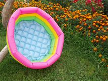 Baby swimming pool. Plastic colorful baby swimming pool, close up Royalty Free Stock Photo