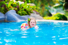 Baby in a swimming pool Royalty Free Stock Images