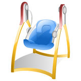 Baby Swing. With Yellow Bars, Pink Joints and Blue Seat Stock Images