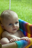 Baby on swing Stock Images