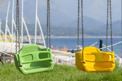 Baby swing on the beach in Kemer Royalty Free Stock Photo