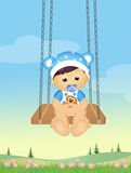 Baby on swing. Funny illustration of baby on swing Royalty Free Stock Images