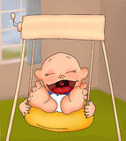 Baby in a Swing. Painted illustration of a baby having fun in a childs swing vector illustration
