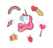 Baby t shirt design with unicorn patches vector illustration