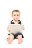 Baby with tablet royalty free stock photo