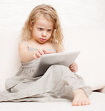 Baby with tablet computer Royalty Free Stock Photography