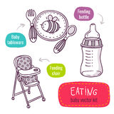 Baby tableware, high feeding chair and milk bottle - vector line Stock Image