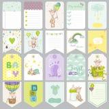 Baby-Tags Baby-Fahnen Einklebebuch-Aufkleber Nette Karten Lizenzfreies Stockfoto