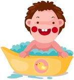 Baby takes a bubble bath. Royalty Free Stock Photos